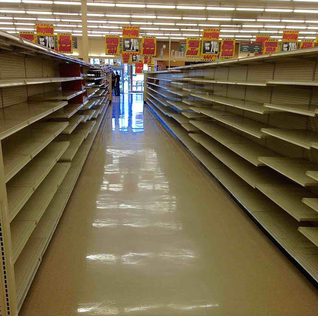 food empty shelves aisle dude market facts neighborhood goods quality